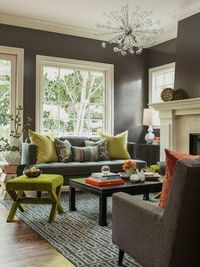 Decorating ideas for the living room-what about dark gray walls? :)