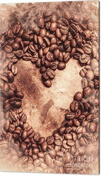 Heart Warming = Coffee - Wall Art | Background composed of sepia toned image featuring coffee beans placed in the shape of a heart | #coffeewallart #coffeedecor #coffee #artworkshop #kitchendecor #cafeinteriordesign #interiordecorations #cafe