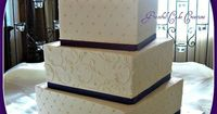 White and Purple Square Wedding Cake by Graceful Cake Creations, via Flickr