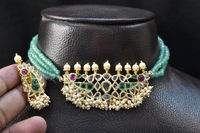 indian polki handmade choker with emrald beeds $125.00