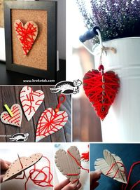 "Hearts from cardboard and thread �€"" three variants"
