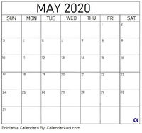 Printable May 2020 Calendar in jpg and pdf