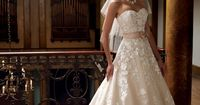 Wedding Dresses 2013 Collection -Strapless organza and Venise lace full A-line wedding dress with sweetheart neckline