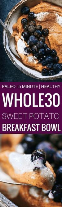 Easy whole30 and paleo breakfast! Sweet potato breakfast bowl! Only takes 3 ingredients and a few minutes to make. Loaded with healthy fats and protein!