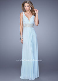 Powder Blue 21475 Ruched V-neck Open Back Beaded Waist Prom Dress