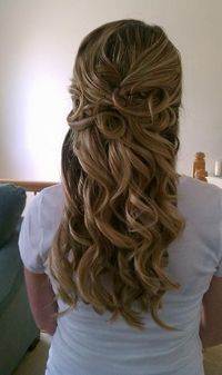 curly half up wedding hair. Definitely need a flower in the hair!