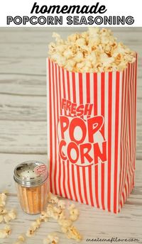 This Homemade Popcorn Seasoning will take plain old popcorn and turn it gourmet! It tastes so good and you don't have to feel guilty after eating it!