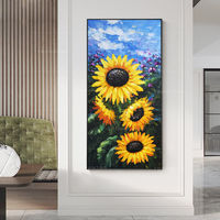 Framed wall art Abstract floral paintings on canvas Original art sun flower painting contemporary wall art blue sky palette knife $161.25