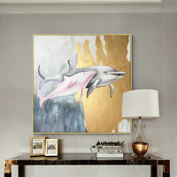 Gold art Modern wall art Dolphin abstract animals painting on canvas original painting acrylic large wall art wall picture cuadros abstracto $169.00