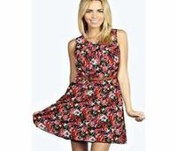 boohoo Fiona Floral Sleeveless Belted Skater Dress - No off-duty wardrobe is complete without a casual day dress. Basic bodycon dresses are always a winner and casual cami dresses a key piece for pairing with a polo neck , giving you that effortless eve h...