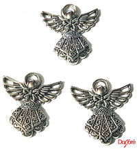 Pack of 4 Silver Coloured Angel Fairy Charms. Nature Theme Fairytale Charms. 23mm x 25mm £4.49