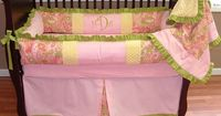 Alana Paisley Baby Bedding This custom 3 pc baby crib bedding set includes a modern plush bumper pad, tailored detail crib skirt, and so soft minky backed blanket with ruffles. The pink and green paisley, solid pink and solid green cotton pique, green gro...