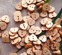 50 x Natural Wooden Love Heart Buttons. 11mm x 10mm. Perfect as a Valentine's Day Gift, Romance, Sewing, Dressmaking and Needle Craft. £3.19