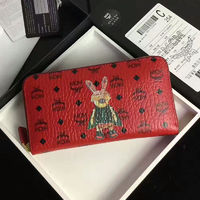 MCM Rabbit Visetos Leather Long Wallet In Red
