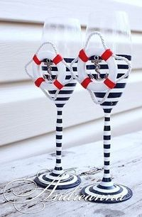 Could be used as His and Hers Nautical Wedding toasting Glasses.