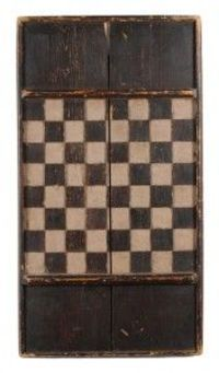 19th Century Hand Carved Game Board in Old Paint