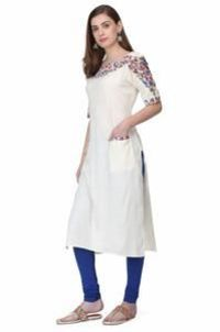 Women's OFF White Rayon Kurti in Wholesale