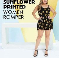 Sunflower Printed Contrast Black Casual Cami Romper at www.fashionsqueen.com
