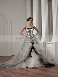 EXTRAVAGANT BEADED STRAPLESS SATIN WEDDING DRESS WITH TULLE OVERLAY