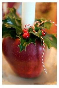 apple candle holder- we used these for Christmas Eve candlelight service