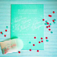 I'm always a fan of wedding invitations with calligraphy, and even more so when a designer pairs calligraphy with a gorgeous color palette like Tiffany blue and
