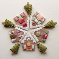 gingerbread houses, christmas trees and felt house.