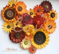 shadow box, flower wreaths and paper flowers.