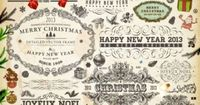 merry christmas vintage calligraphic decoration elements vector