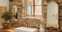 Beautiful stone wall & wood countertop