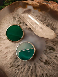 Two green circles earrings from stain glass with silver plated, minimalist earrings. $34.00