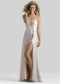 Clarisse 2309 Sequin Slit Long Blush Prom Dresses