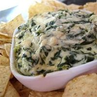 Artichoke & Spinach Dip Restaurant Style | From All Recipes | Nothing healthy about this, but I love spinach & artichoke dip!