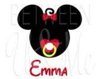 Personalized Pacifier Baby Mickey Minnie Mouse Iron On Decal Vinyl for Shirt