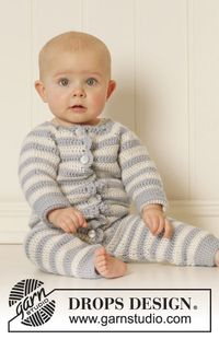 Crochet DROPS suit with raglan and stripes in �€Karisma�€. Size 0 - 4 years. ~ DROPS Design