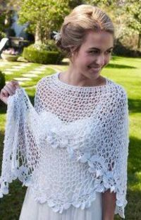 Add a homemade touch to your special day with this Beautiful Bridal Shawl. Use Aunt Lydia's Crochet Thread from Red Heart to complete this free crochet shawl pa