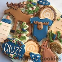 Woodland moose themed baby shower cookies by Krauft Cookies in Fayetteville, Arkansas. 289 Likes, 13 Comments - Liz Krauft (