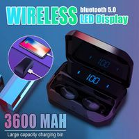 Mini Portable TWS Wireless bluetooth 5.0 Earphone 3600mAh Power Bank Stereo Sports Headphone with Mic