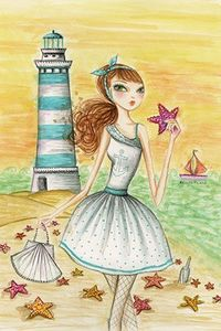 """Ahoy Lola by the Lighthouse"" By Bella Pilar Canvas Print #BPR4"