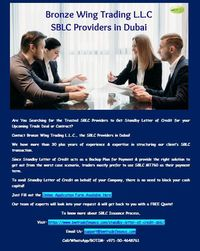 Do you want to know more about Standby Letter of Credit? Read the document published by Bronze Wing Trading L.L.C., the SBLC Providers in Dubai. Importers who require Standby LC for their trade deals can get help from us! We have more than 30 years of exp...