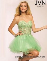 Strapless Sheer Lace Cheap Jovani JVN80439 Short Green Homecoming Dresses 2015