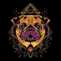Cute pug dog geometry illustration style in black background | Premium Vector.