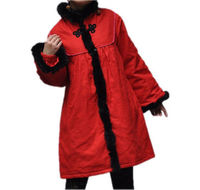 red Winter Long padded coat