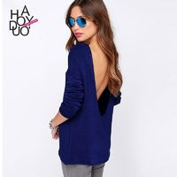 Office Wear Oversized Sexy Simple Open Back Low Cut One Color Fall 9/10 Sleeves T-shirt - Bonny YZOZO Boutique Store