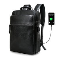 13L Outdoor Business Travel USB Laptop Backpack Waterproof PU Leather Shoulder Bag