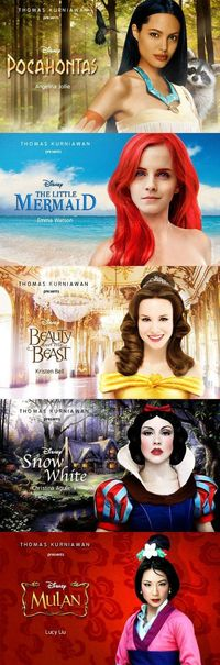 Celebrities as Disney princesses - Funny pictures of celebrities as Disney princesses: Angelina Jolie as Pocahontas, Emma Watson as The Little Mermaid, Kristen Bell as Beauty And The Beast, Christina Aguilera as Snow White, Lucy Liu as Mulan.