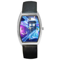 Dr Who, Tardis on Swirling Space Field (stars) on a Mens or Womens Barrel Watch with Leather Band $32.00