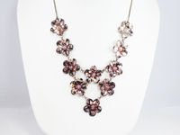 Rose Tone Sterling Silver Flower Bib, Floral Design Adjustable Length 925 Necklace with Petite Flowers Links Signed 1980s Gift for Her $80.00