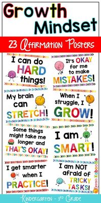 Create a culture of success, perseverance, and motivation! Are you a Kindergarten, 1st, 2nd, or 3rd grade teacher looking for growth mindset posters? These 23 watercolor affirmation posters for primary grades will kick start your growth mindset instructio...