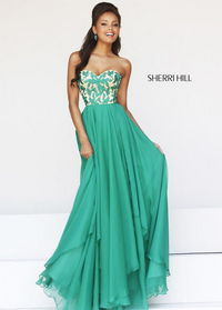 Sherri Hill 1924 Green Strapless Embroidered Top Flowy Chiffon Prom Dress