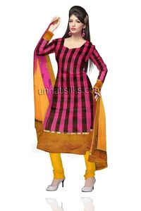 Unstitched party pink and yellow Chanderi sico salwar kameez